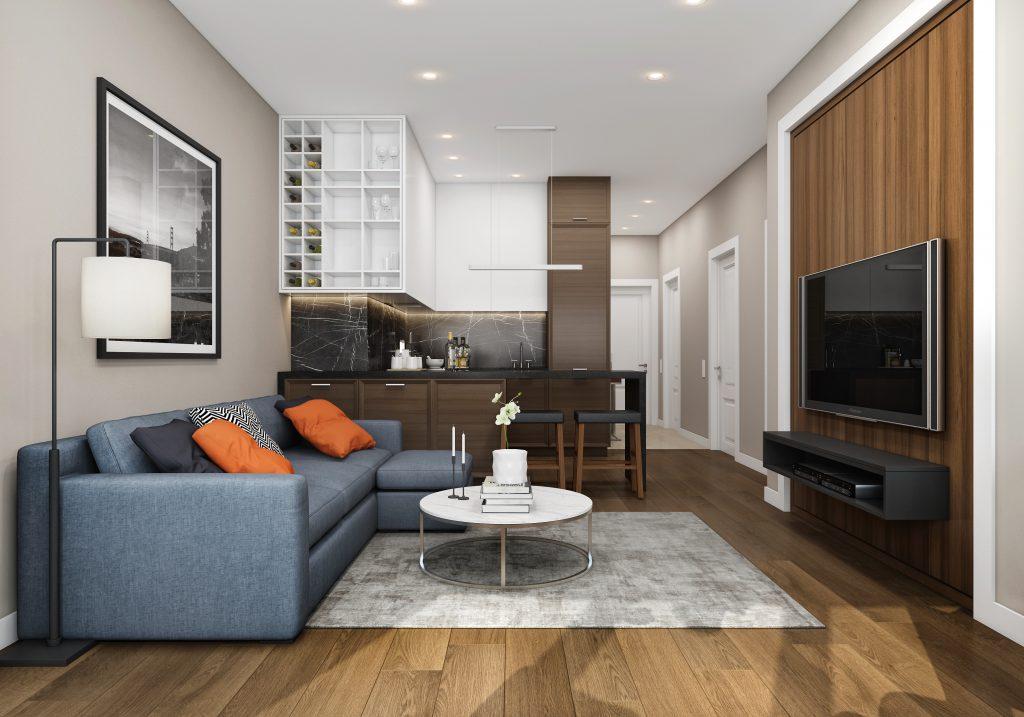 Дизайн интерьера двухкомнатной квартиры в американской классике