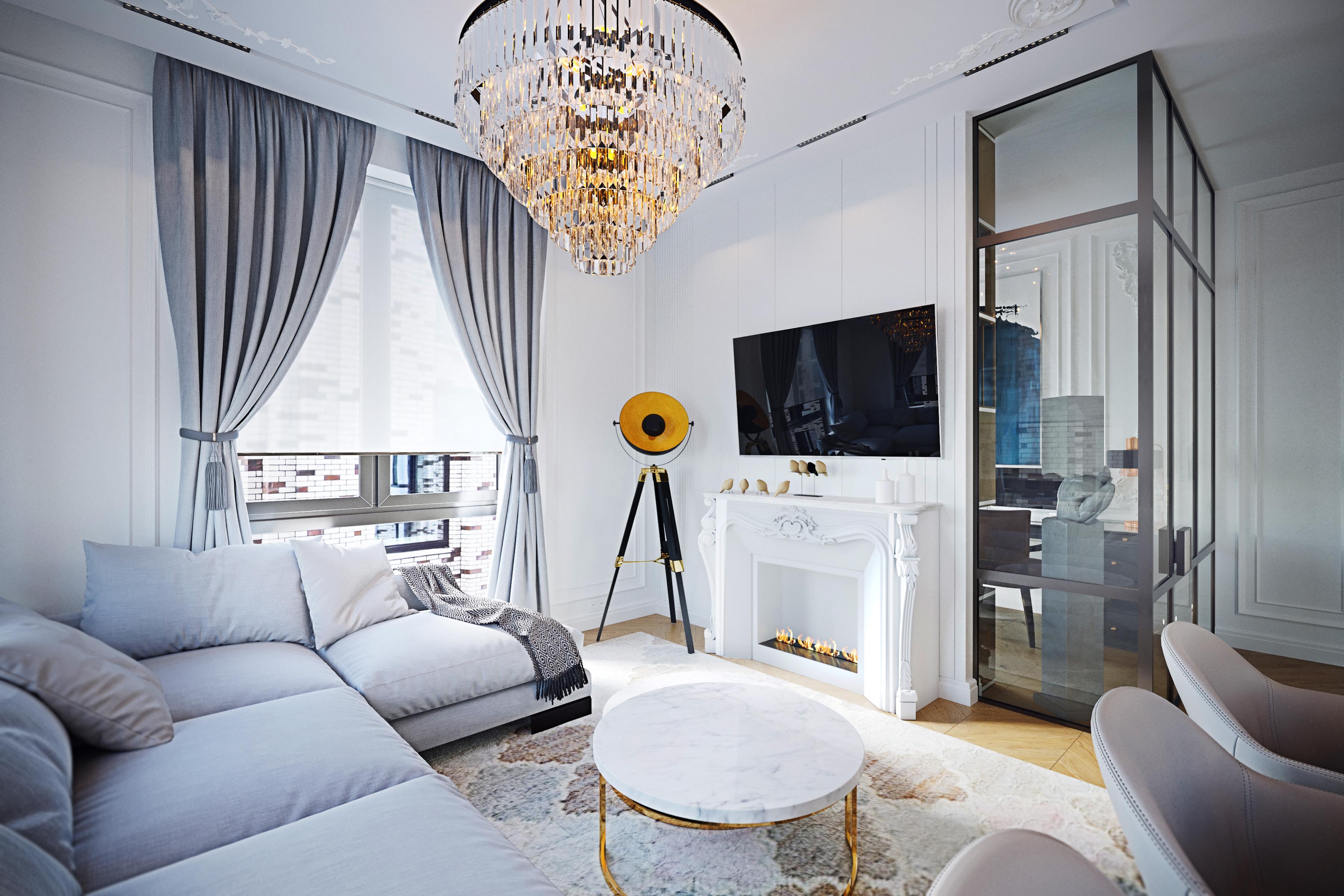 Дизайн гостиной ЖК Пресня Сити