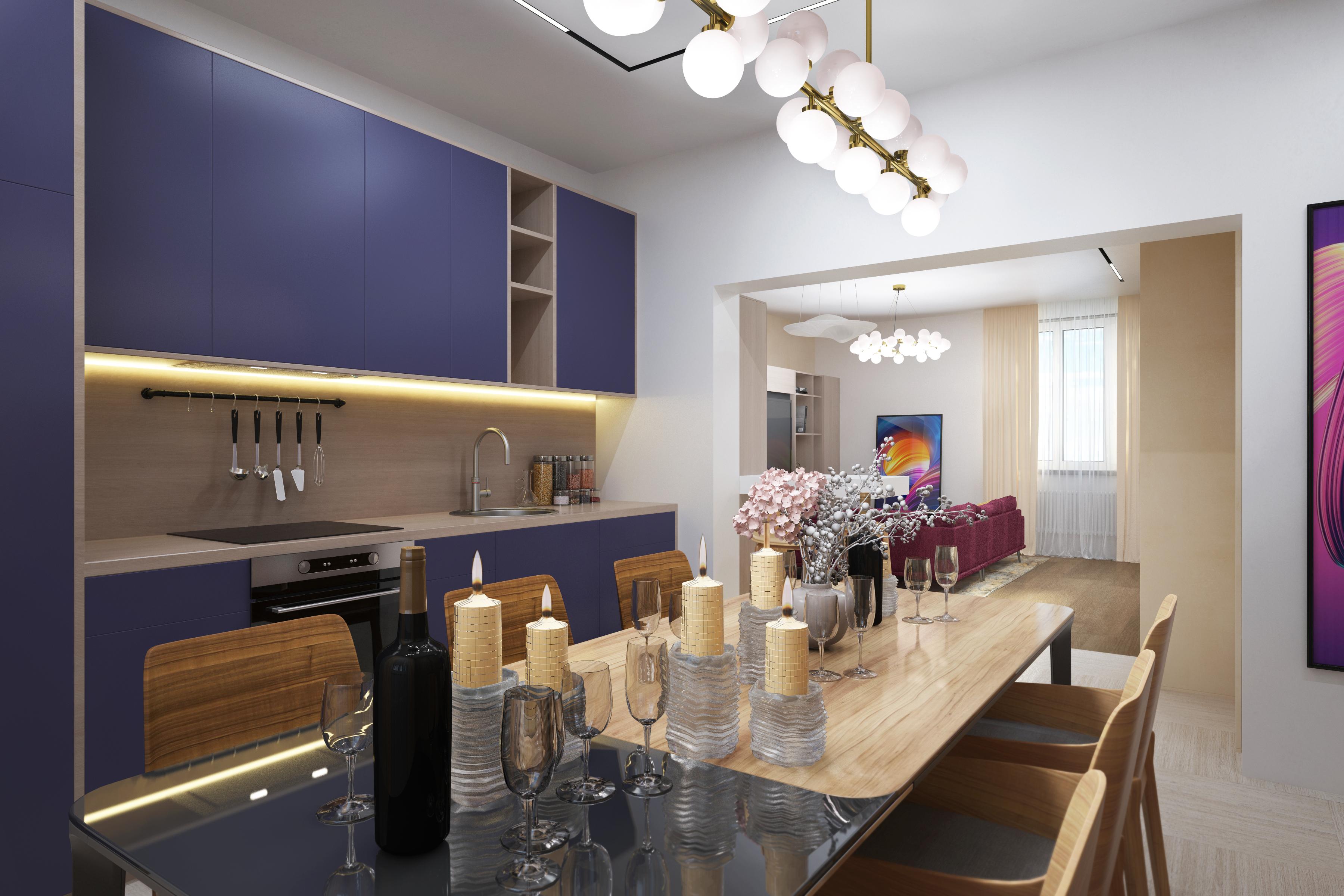 Дизайн кухни дома 250м2