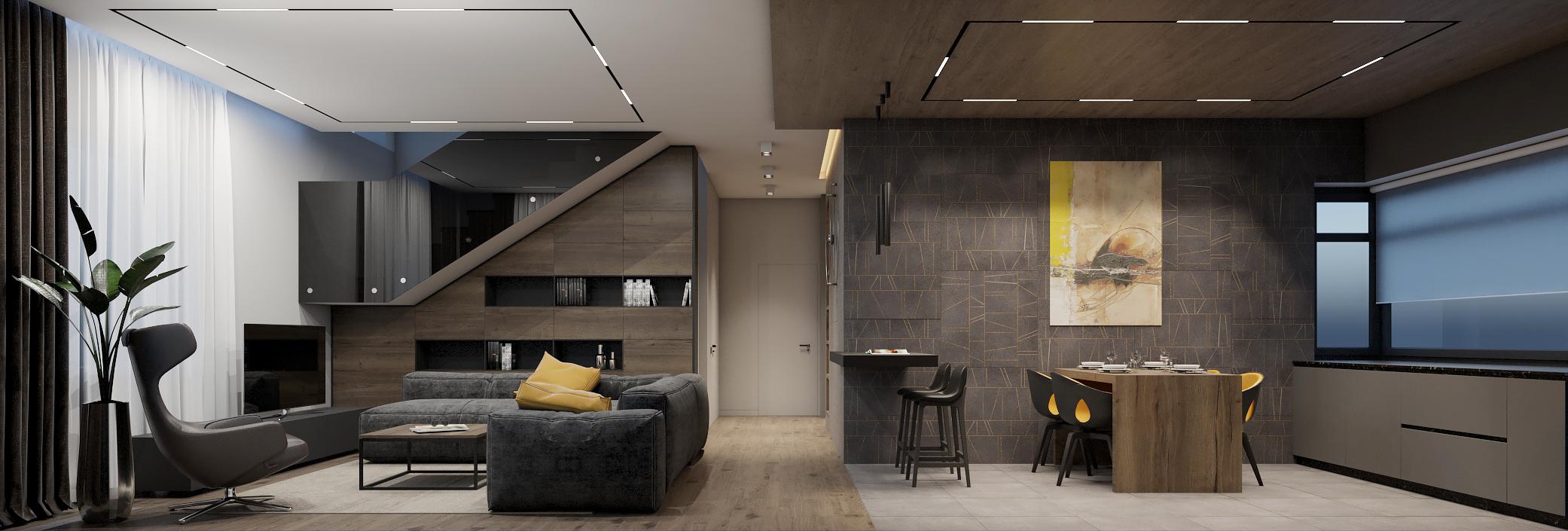 Интерьер кухни-гостиной в современном доме.