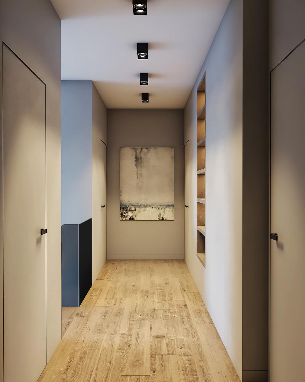 Дизайн лестницы и холла в доме в современном стиле