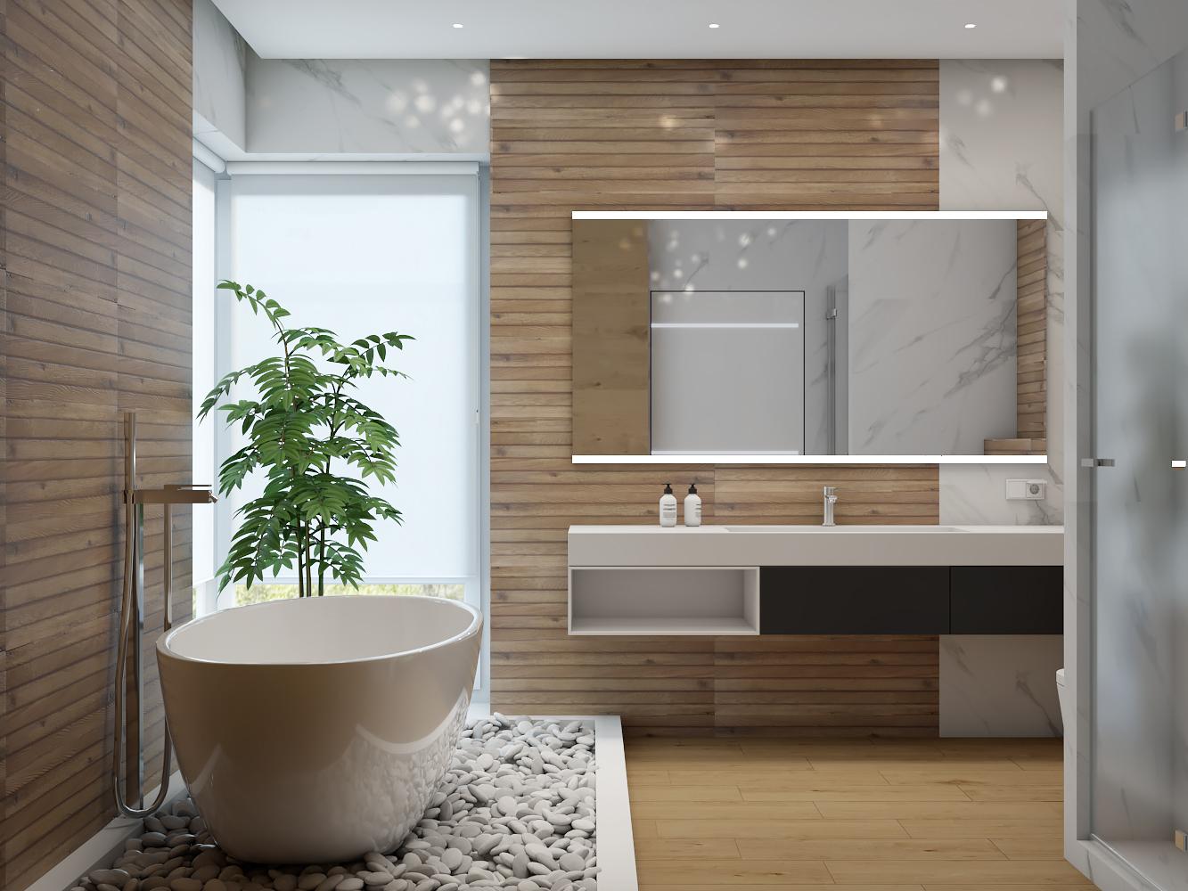 Интерьер очень уютной ванной в трехэтажном доме