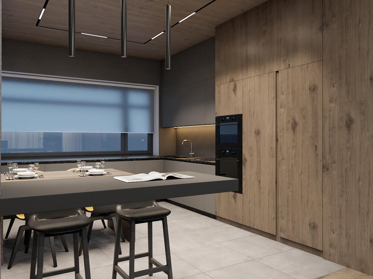 Дизайн кухни в двухэтажном доме