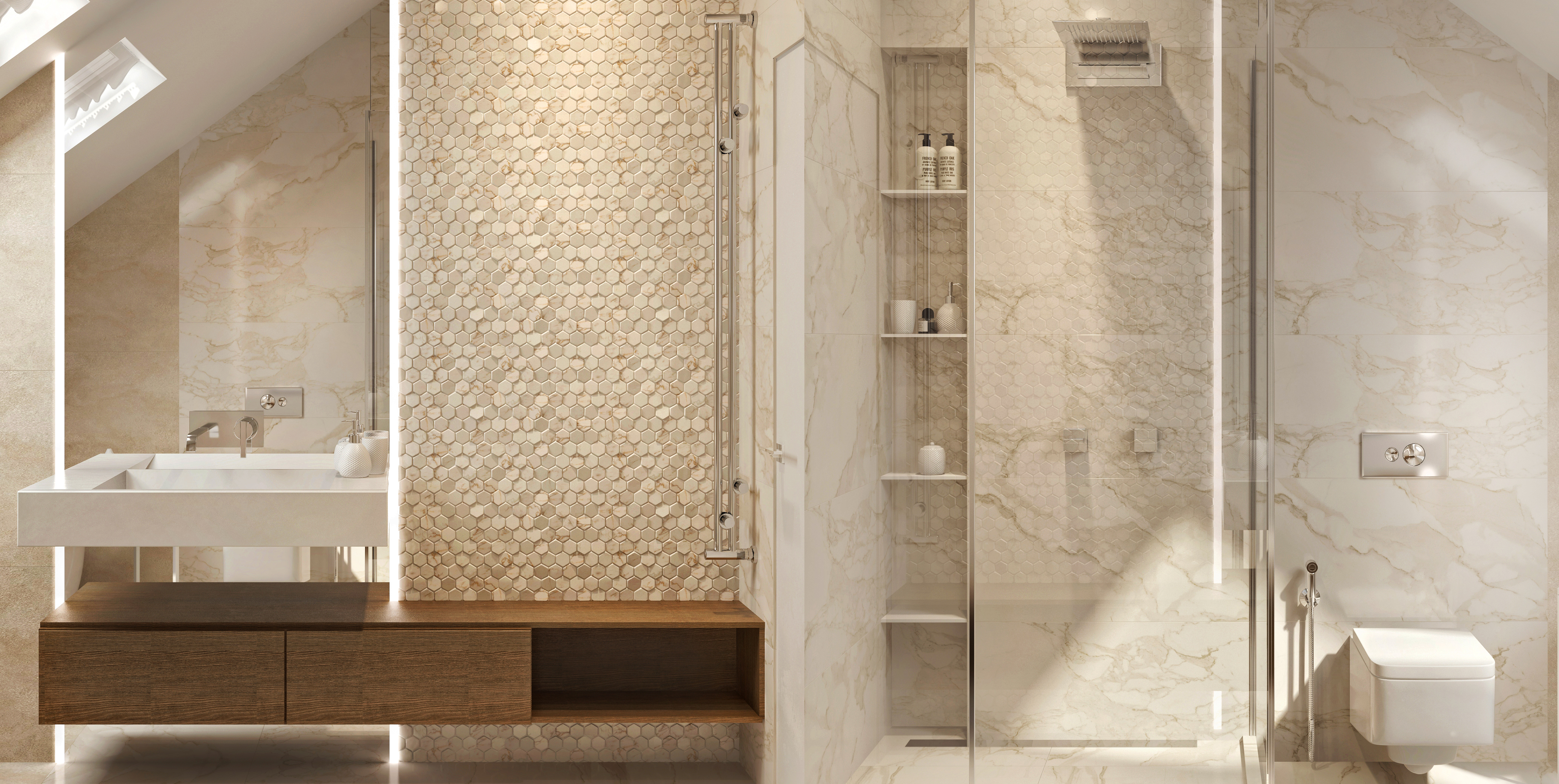 Дизайн ванной комнаты в таунхаусе. Заповедный парк.
