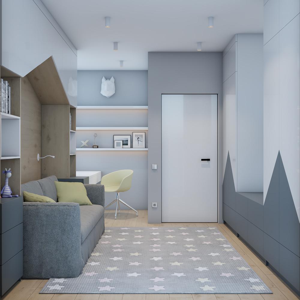 Нежный интерьер детской комнаты в двухэтажном доме.