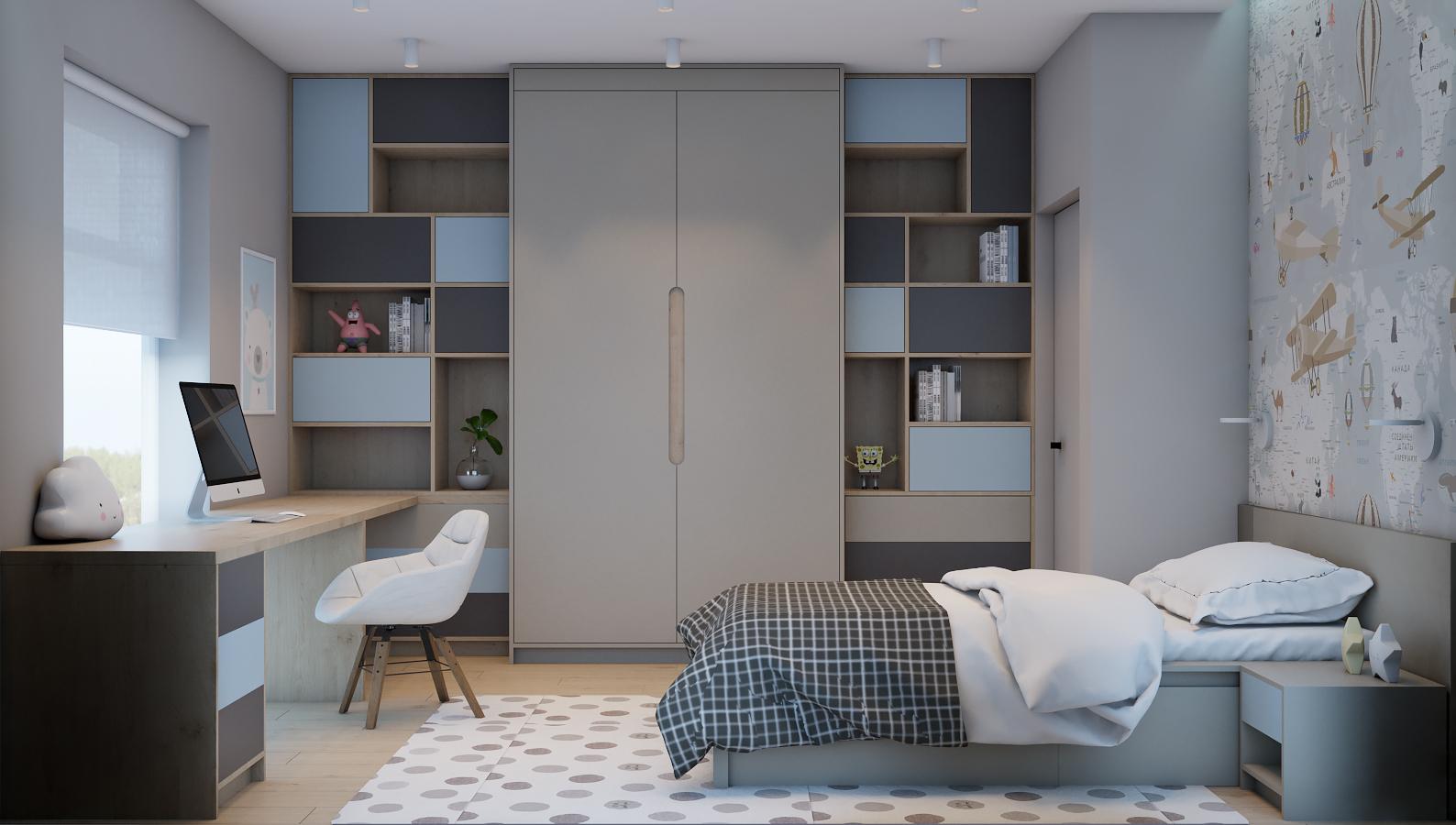 Детская комната в двухэтажном доме в Подмосковье.