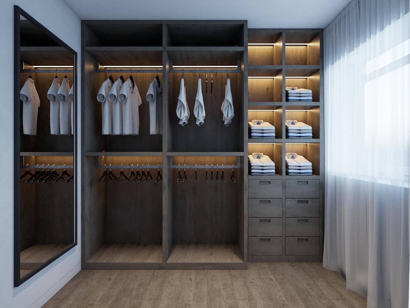Дизайн гардеробной комнаты в современном доме.