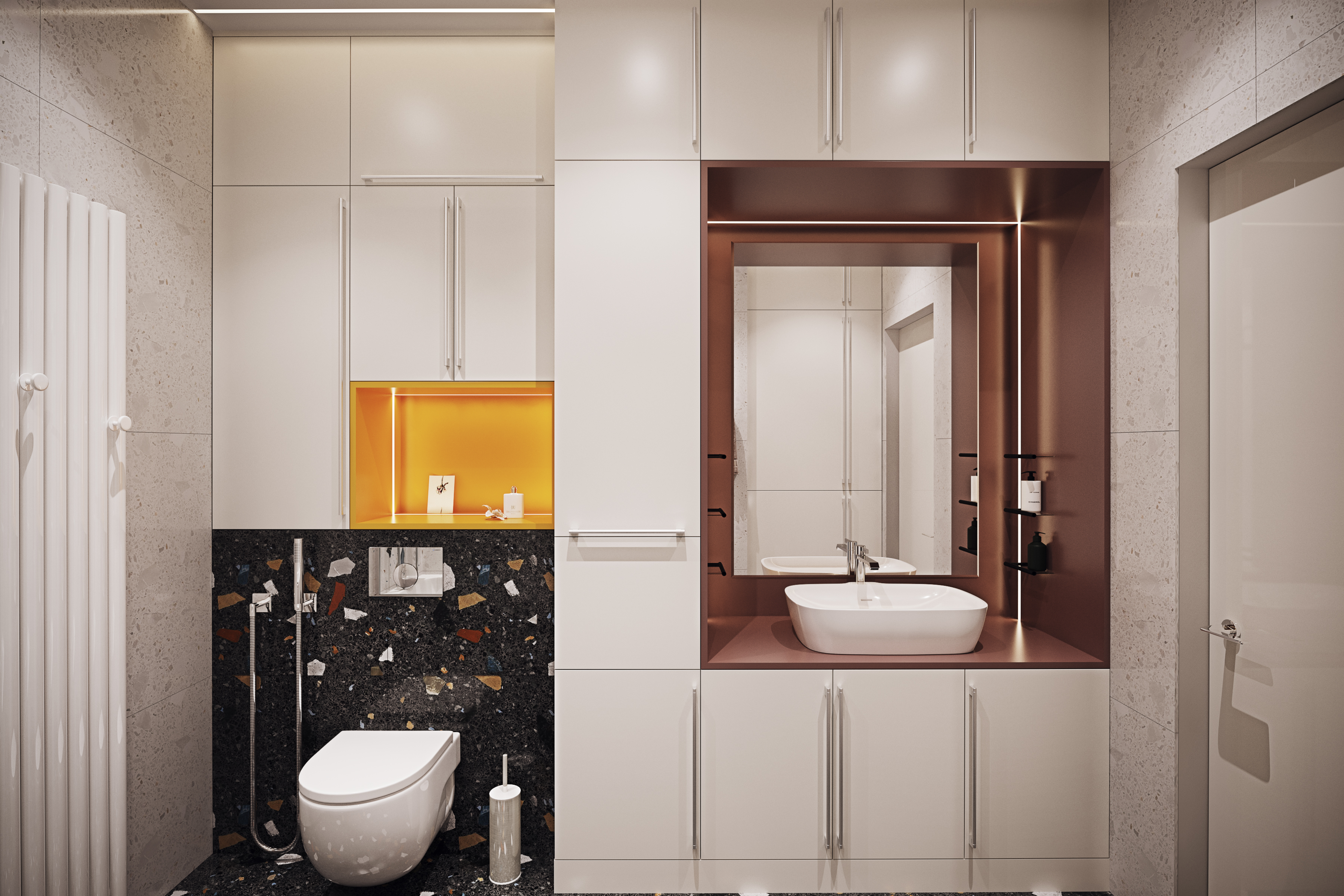 Дизайн ванной комнаты с яркими акцентами в ЖК Маяковский
